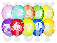 Воздушные шарики Gemar пастель ассорти Цифры, 12' (30 см) 100 шт