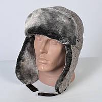 Теплая мужская шапка - ушанка на искусственном меху - мутон (арт. 29-608)