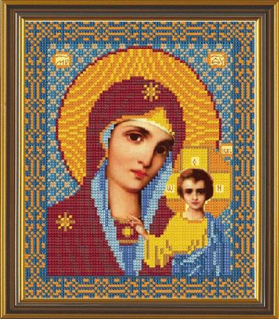 Рисунок на ткани для вышивания бисером Богородица Казанская БИС 9015