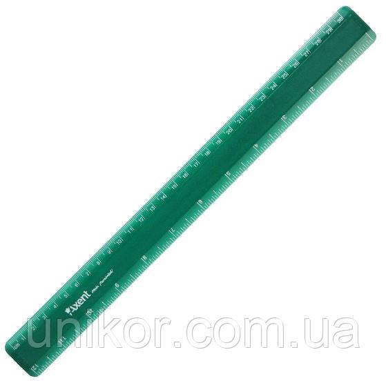 Линейка пластиковая 30 см. зеленый. AXENT