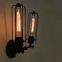 Настенно-потолочный светильник  сетка колба [ Wall Light Industrial Double ]