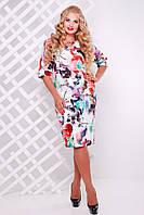 Женское Платье трикотажное Ксения красное (50-58)
