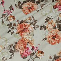 Штора хлопок терракотвые цветы на беже, фото 1