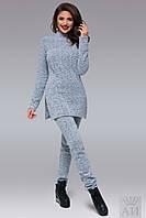 Женский светло-серый теплый костюм букле
