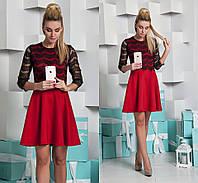 Платье дайвинг + гипюр реснички красное 11811
