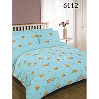 Постельное белье в детскую кроватку 6112 голубой  ранфорс ТМ Вилюта мишки