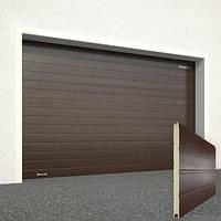 Готовые гаражные секционные ворота Doorhan ширина 2500 высота 2150 коричневые