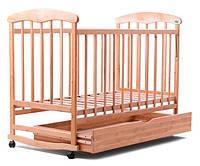 Детская кроватка с ящиком Наталка 20007, ольха светлая