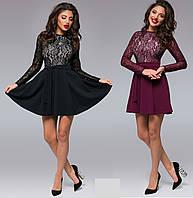 Женское нарядное  платье-клеш с гипюром