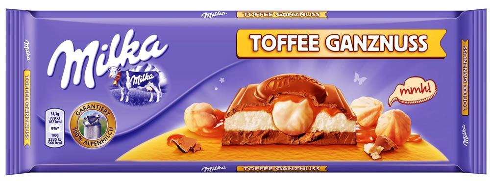 Шоколад молочный Milka Toffee Ganznuss (милка с фундуком и карамелью), 300 гр - Продукты из Италии - интернет магазин «Market IT» в Львове