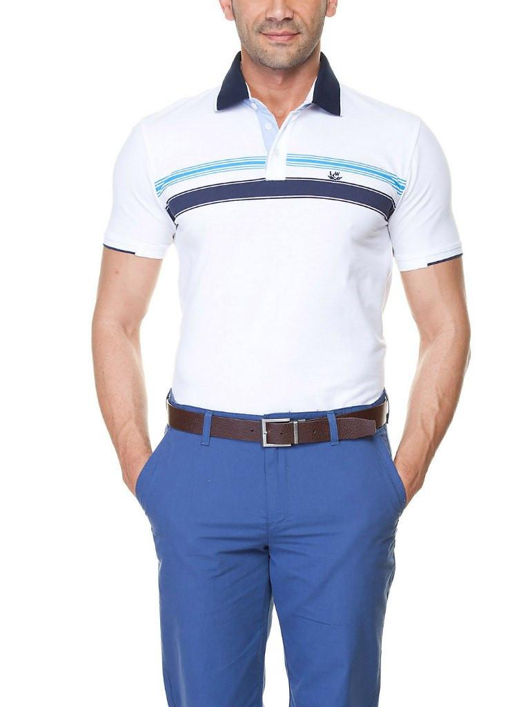 Мужское поло LC Waikiki белого цвета с сине-голубой полоской