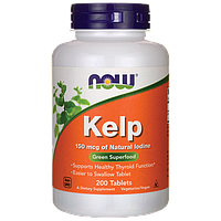 Келп с йодом, поддержка щитовидной железы, 150 мг, 200 таблеток, Kelp, Now Foods