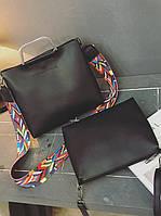 Стильная городская сумка с красочным поясом и клатчем 2 в 1. Красивый набор. Отличный подарок.  Код: КГ115