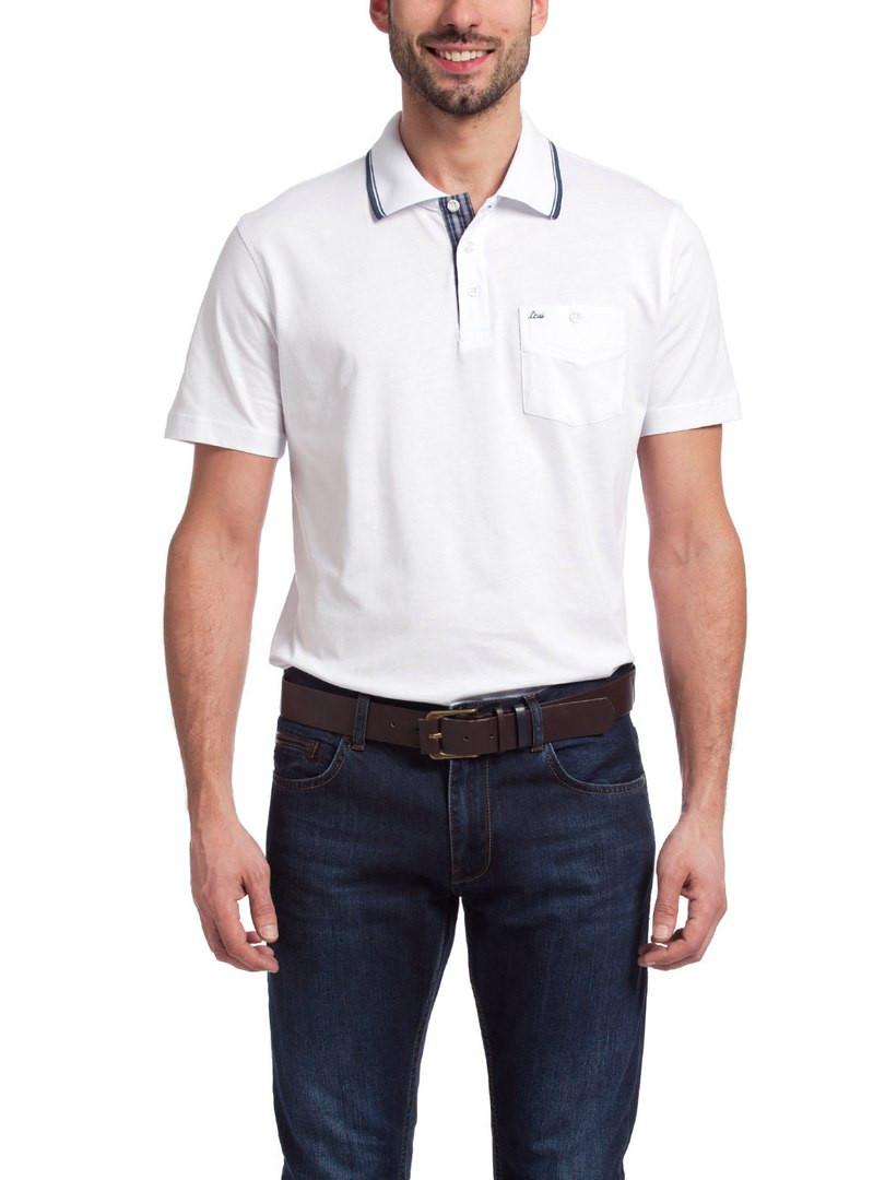 Чоловіче поло білого кольору із сіро-блакитною окантовкою