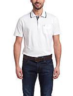 Мужское поло белого цвета с серо-голубой окантовкой