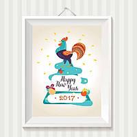 Постер новогодний, год петуха 2017