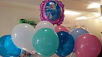 """Воздушные шары с гелием и шар- зеркало """"Холодное сердце"""""""