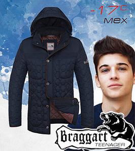 Подростковая зимняя мужская куртка 46, т.синий-коричневый