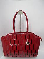 Красная сумка из натуральной кожи Farfalla Rosso лаковая