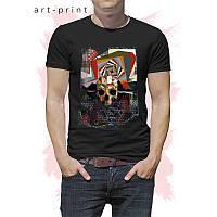 Футболка трикотажная мужская с принтом Abstract Skull, фото 1