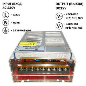Блок питания 150W для светодиодной ленты DC12 12,5А TR-150-12 металлический
