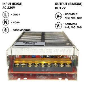 Блок питания 200W для светодиодной ленты DC12 16,5А TR-200-12 металлический, фото 2