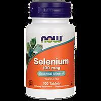 Селен, минеральная добавка, Now Foods, 100 мкг, 100 таблеток
