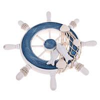 Корабельный Штурвал руль Морской стиль Синий цвет, фото 1