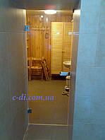Стеклянные маятниковые двери без коробки, фото 1