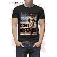 Чорна чоловіча футболка з дівчиною, фото 1