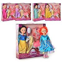 """Кукла """"Принцесса""""+лошадь, муз., свет, 6 видов, 28см, аксессуары, в кор. 40*37*9см (24шт)"""