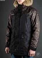Зимняя куртка (парка) Staff - Mount print dark camo Art. BRZ0009 (чёрный \ камуфляж)