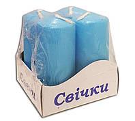 Свечи столбы интерьерные  голубые 40 х 80 мм ( 4 шт.)