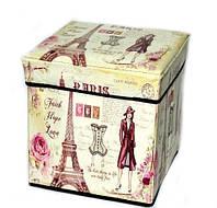 Пуфик складной декоративный Париж с барышней 1054-6