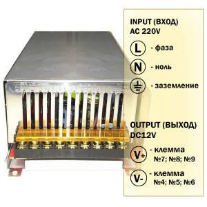 Блок живлення 500W для світлодіодної стрічки DC12 41А TR-500-12, фото 2