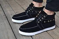 Зимние ботинки мужские на овчине туфли замш