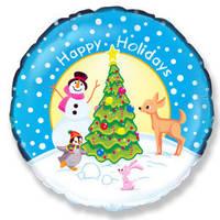 """Воздушный шар круг голубой """"Снеговик и друзья"""""""