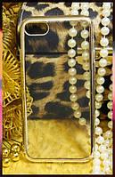 Силиконовый прозрачный чехол для Apple iPhone 7 с ободком светлое золото