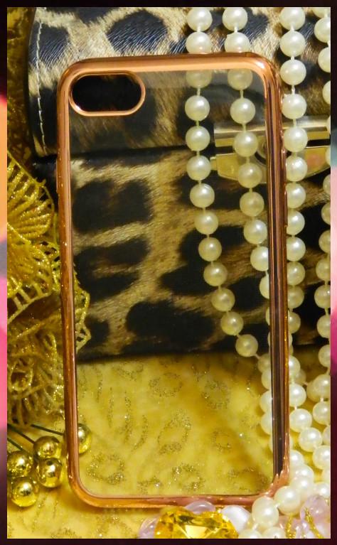 Силиконовый прозрачный чехол для Apple iPhone 7 с ободком розовое золото