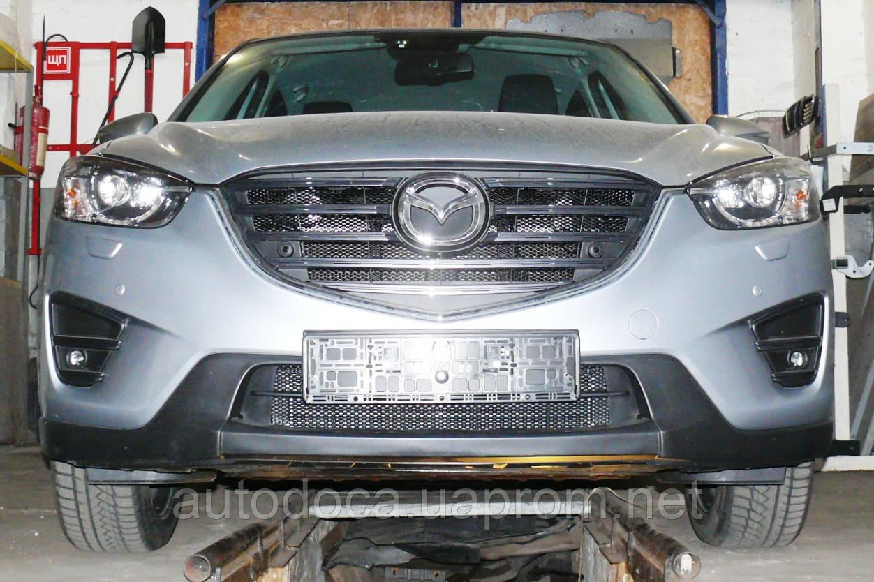 Декоративно-захисна сітка радіатора Mazda CX5 фальшрадіаторная решітка, бампер