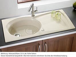Гранитная мойка с одной чашей и крылом в кухню от производителя LONGRAN PREMIUM ELLIPSE Opal White (Granite)