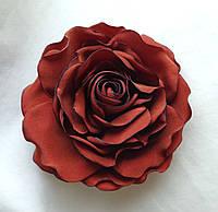 """Брошь из ткани ручной работы """"Терракотовая Роза"""""""