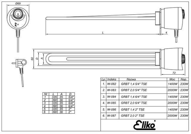 ТЭНы с термостатами ELIKO для бойлеров GRBT