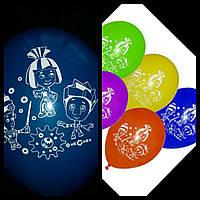 """Воздушные шарики 10шт. пастель шелкография """" Фиксики"""" 10"""" (25 см)."""