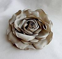 """Брошь из ткани ручной работы """"Роза Серый Туман"""""""