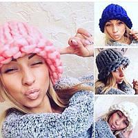 Женская зимняя шапка крупной вязки (расцветки), фото 1