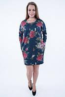 Трикотажное теплое платье до колен с длинным рукавом