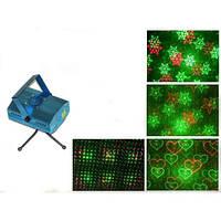 Мини лазерный проектор стробоскоп лазер шоу 4 в 1/ Декоративное освещение