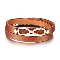 """Женский кожаный браслет """"Бесконечность"""" на два оборота, цвет коричневый, фото 1"""