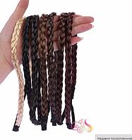 Новинка! Эластичная повязка-косичка из синтетических волос, цвет - черный